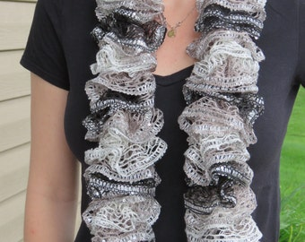Black & Grey Ruffle Scarf // Knitted Scarf