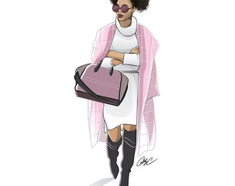 Afro Fashionista in a Winter Coat