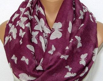 Seasonal Sales For ALL SCARVES *** Butterflies infinity scarves, spring scarf, summer scarf, autumn scarf, women scarf, loop scarf, scarf