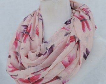 Seasonal Sales For ALL SCARVES *** Dragonfly infinity scarves, spring scarf, summer scarf, autumn scarf, animal scarf, loop scarf, scarf
