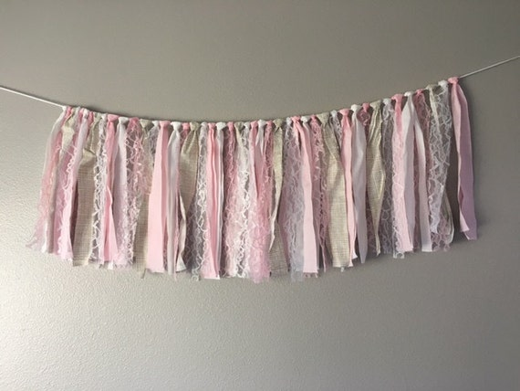 light pink gold lace fabric banner birthday bunting garland photo prop backdrop baby shower wedding decor READY TO SHIP 4 feet x 18 inches