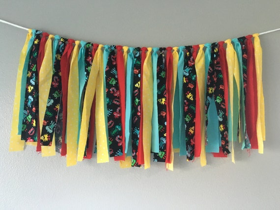 monsters fabric banner bunting garland photo prop birthday backdrop baby shower decor READY TO SHIP 3 feet by 18 inches