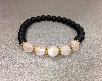 Black Onyx Rose Quartz Bracelet
