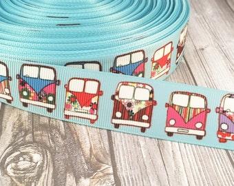"1"" retro ribbon - Hippie ribbon - Grosgrain ribbon - Hippie van ribbon - Flower child ribbon - 70s ribbon - Vintage look ribbon - DIY supply"