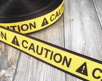 "Halloween ribbon - Caution ribbon - Halloween crafts - Crime scene ribbon - 7/8"" Grosgrain ribbon - Yellow and black - Funky ribbon"
