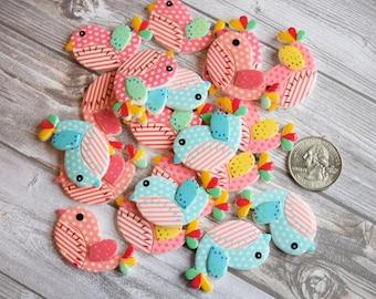 Kawaii bird flatbacks - Set of 5 - Mixed lot - Ready to ship - Crafting supplies - Colorful birds - DIY hair bows - Cute little birds