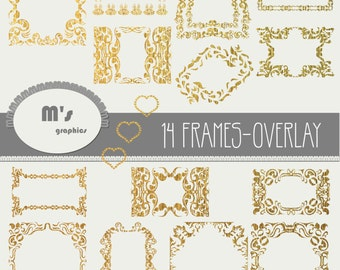 Heart Frames Labels Gold Damask Overlay. Transparent, to use with favourite background. Everyday is Valentine!
