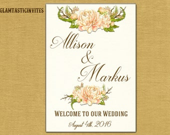 Wedding Sign, Welcome Wedding Sign, Printable Wedding Welcome Sign, Rustic Wedding Sign, Rustic Wedding, Floral Wedding Sign, Flower Wedding