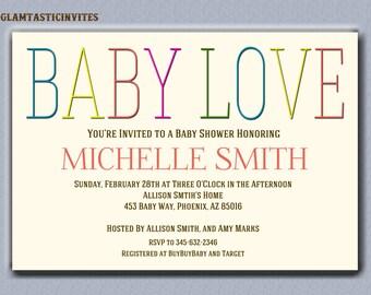Gender Neutral Baby Shower Invitation, Baby Love Baby Shower Invitation, Gender Neutral, Baby Shower Invitation, Baby Shower Invite, Baby