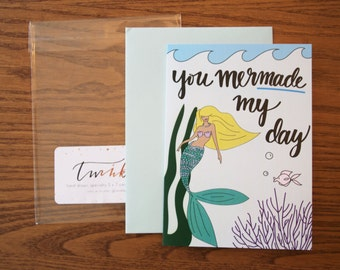 mermaid greeting card | mer made my day card | mermaid card | hand-drawn card