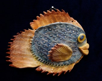 Blue and Gold Puffer Fish Wall Pocket