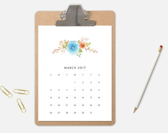 2017 Printable Calendar, 2017 Calendar, Downloadable Calendar, Monthly Calendars, Printable Calendar, 2017 Year Calendar, Floral Calendar