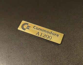 Commodore Amiga 1200 Logo / Sticker / Badge brushed aluminum 49 x 13 mm [263b]