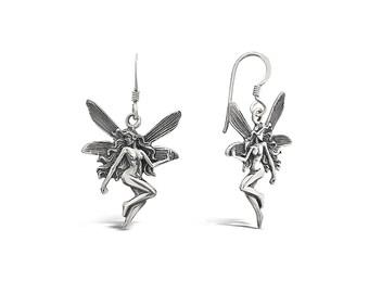 Pixie Earrings - Silver Fairy Earrings - Fairy Drop Earrings - Hook Through Earrings - Fairy Silver Charm - Silver Drop and Dangle Earrings