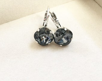 Swarovski Crystal Drop Earrings in Silver Night