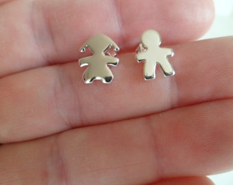 "Tiny stud earrings ""Boy and Girl"", lovely dainty pair, birthday gift. Sterling silver 925."