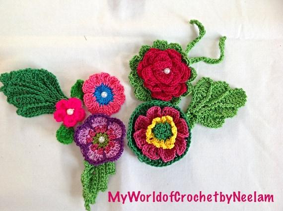 1 Inch Crochet Flower Pattern : Crochet Pattern: Crochet Flower Pattern Crochet Applique