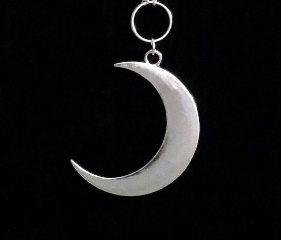"""CRESCENT MOON necklace, crescent moon jewelry, crescent moon, gothic, goth, countess bathory, modern gothic, moon goddess, extra long 36"""""""