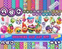 Shopkins Complete Clip Art Kit - 10 Alphabet Styles - 36 Paper Designs - 116 Clip Art Characters - High Resolution - 300 dpi- Invitations ++