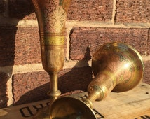 Pair of brass vases, Indian / Moroccan style etched decorative vases.