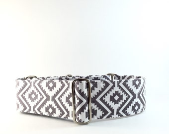 "Aztec martingale collar. Grey aztec 2"" martingale collar. Available in 1"", 1.5"" and 2"" widths, wide width dog collar."
