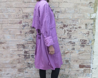 Vintage 80s/90s Pink Oversized Avante Garde Trench Jacket Anorak Coat - Free Size