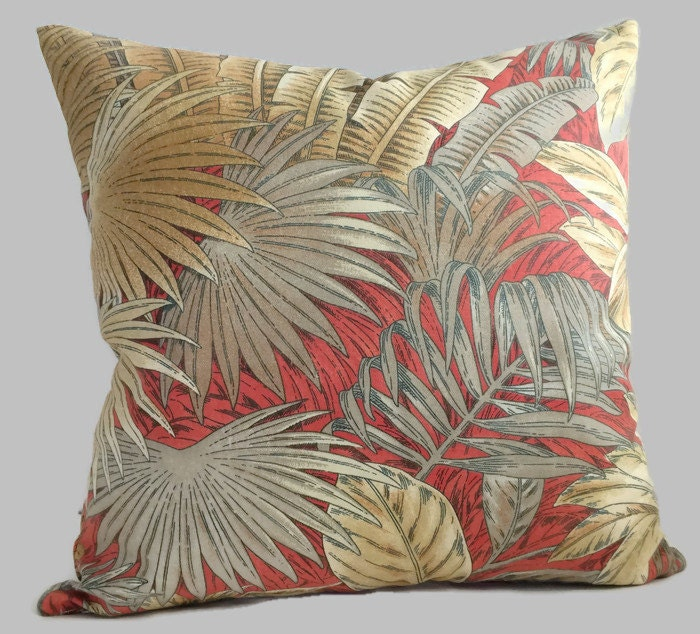 Palm Pillow Red Nutmeg Brown Tommy Bahama Decorative Throw