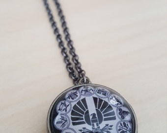"Hunger Games Inspired Necklace w/ 1"" Glass Dome - Double Sided - Mockingjay Necklace - Hunger Games Jewelry - Districts - More Images Avail!"
