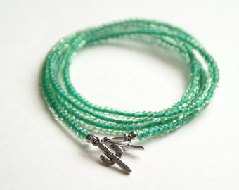 Glass Beaded Wrap Bracelet with Cactus Charm