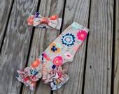 Mocha floral knit double ruffle leggings, girls knit floral icings, newborn knit floral leggings, toddler floral ruffle leggings, photo prop