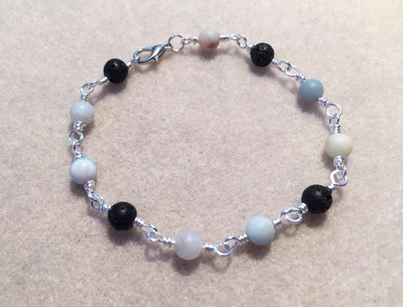 Aromatherapy Diffuser Bracelet with Amazonite Gemstone Beads and Lava Stone Beads for Essential Oils.