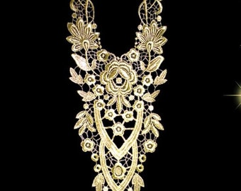 Gold Thread Embroidery Lace Applique Collar ,Gold Lace Collar Patch ,Lace Collar
