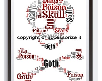 A4 or 5x7 Personalised Skull & Crossbones Word Art Print *Goth *Emo* Punk* Cute Gift Idea * Digital File Also Available *Punk*Goth*Emo