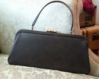 Vintage Convertible Clutch Handbag/ Vinyl/ Vegan Leather/ Gold Clasp/FREE SHIPPING