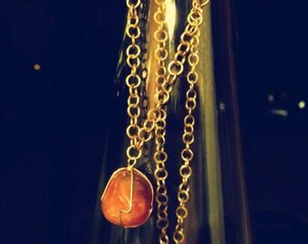 Carnelian Stone Necklace with brass chain