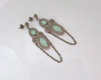 Beige studs earrings Soutache Earrings beige earrings beige earstuds mint earstuds soutache earstuds chain earrings
