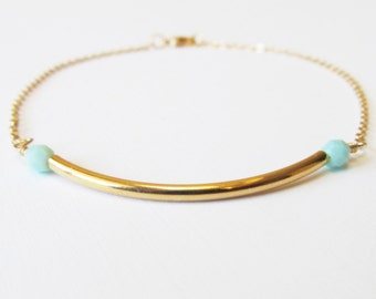 Gold Bar Beaded Bracelet
