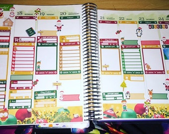 4 page Christmas Planner sticker set for VERTICAL , horizontal erin condren and happy planner also available .