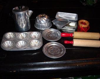 Vintage Child's Aluminum Kitchen Play Set