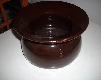 Vintage brown glazed spittoon