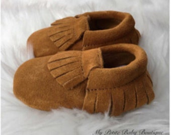 100% genuine Suede leather, Baby Moccasins, Brown Moccasins, Leather Moccasins, Baby Shoes