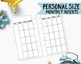 personal size monthly calendar: personal size planner inserts, personal size inserts, kikki k medium, filofax personal [PHYSICAL]