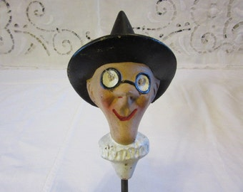 Former head of Puppet Theatre Guignol sorcerer Antique FrenchPuppet Head 1940s