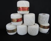 "Crochet Thread Lily ""Glo-Tone""  8 Rolls Art. 42 Color #1 White Boilproof 4 ply 250 Yards/spool Vintage 2 spools are partial"