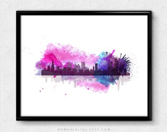 SALE -  Skyline, City Skyline, Silhouette, Black Silhouette, Watercolor Splash Ink, Hot Pink Blue Cyan, City Buildings, Hometown
