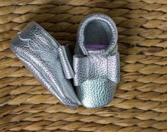 Silver baby moccasins Newborn, infant shoes