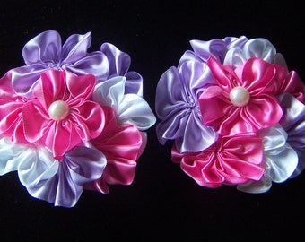 Satin Clusters Flower- Pink Lavender White Shades Satin Ribbon Flowers Multi-layer Flower Pearl Center  2pcs