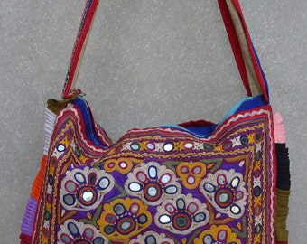 Vintage Banjara Bag, Embroidered Handbag, Gypsy Purse, Kuchi, Hobo Bag, Tribal Bag, Large Tote, Beaded Mirrored BY artisanofrajasthan 46