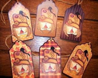 SIX Primitive Harvest Scarecrow Fall Hang tags