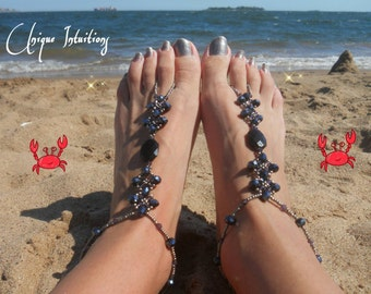 Gothic elegant punk rock crystal beaded Barefoot sandals alternative foot jewelry for beach weddings prom bridesmaid gift w/ free shipping